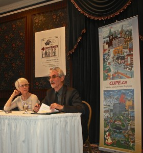 Steven Shrybman and Dr. Sally Mahood address the media at press conference in Regina, Saskatchewan.