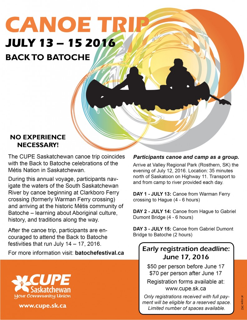 2016 CUPE Canoe Trip Poster